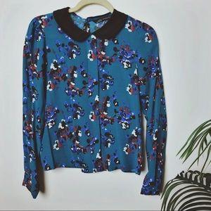 Zara Floral Print Peter Pan Collar Blouse XS
